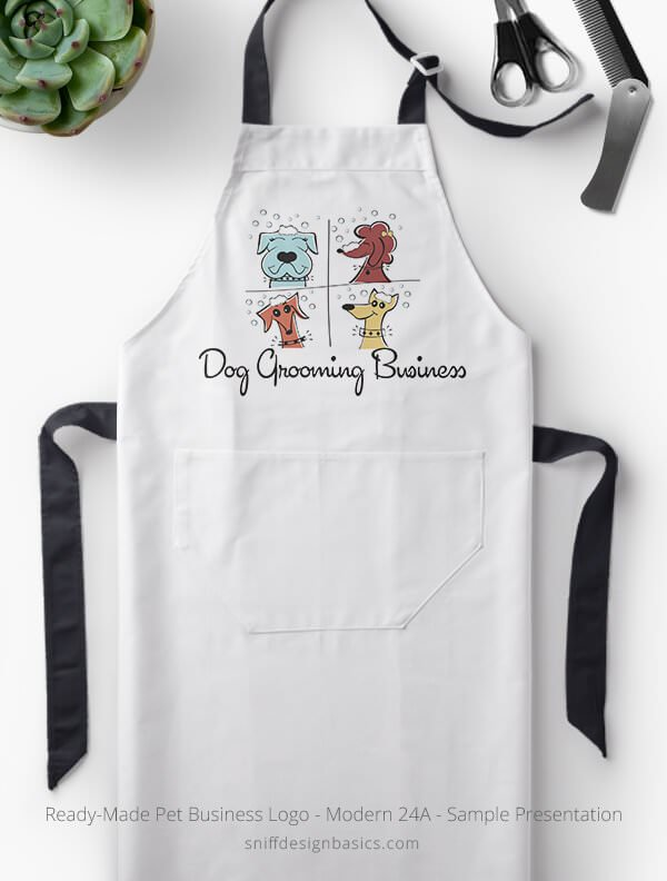 Ready-Made-Pet-Business-Logo-Showcae-Grooming-Apron-Modern-24A