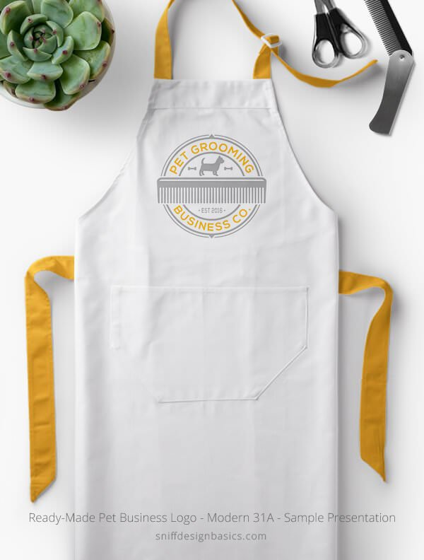 Ready-Made-Pet-Business-Logo-Showcae-Grooming-Apron-Modern-31A