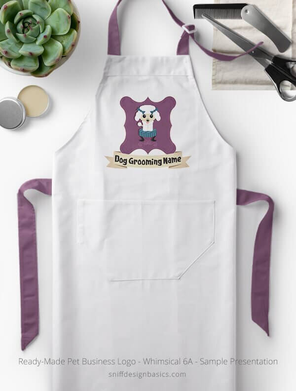 Ready-Made-Pet-Business-Logo-Showcae-Grooming-Apron-Whimsical-6A