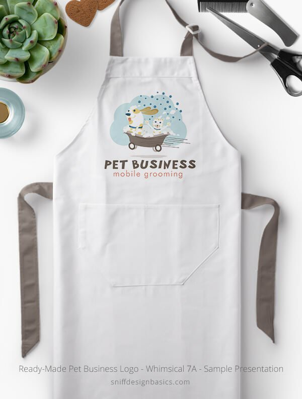 Ready-Made-Pet-Business-Logo-Showcae-Grooming-Apron-Whimsical-7A