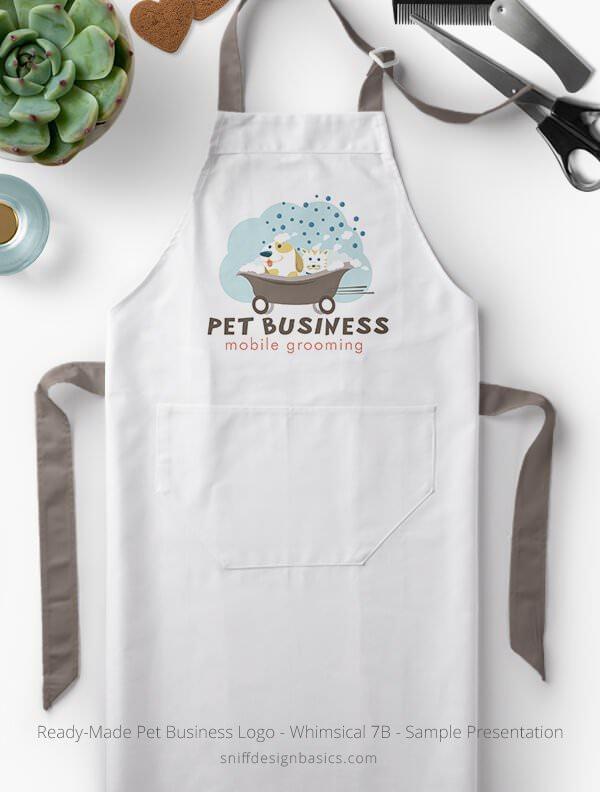 Ready-Made-Pet-Business-Logo-Showcae-Grooming-Apron-Whimsical-7B