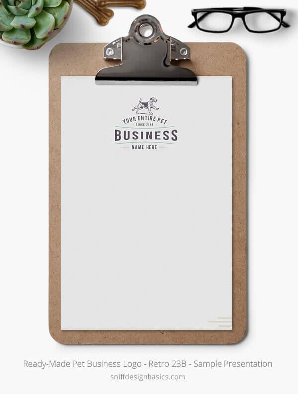 Ready-Made-Pet-Business-Logo-Showcase-Stationery-Letterhead-Retro-23A