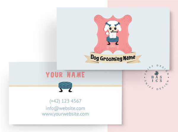 Darla Darling dog grooming premade pet branding kit design business card design by Sniff Design Basics
