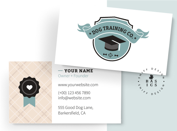 Dog Training Academy Premade Business Card Design Preview for Pet Business Branding Kit by Sniff Design Basics