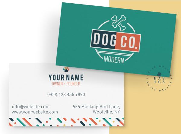Modern Dog Co Pre Made Pet Branding Kit Design Business Card Design by Sniff Design Basics