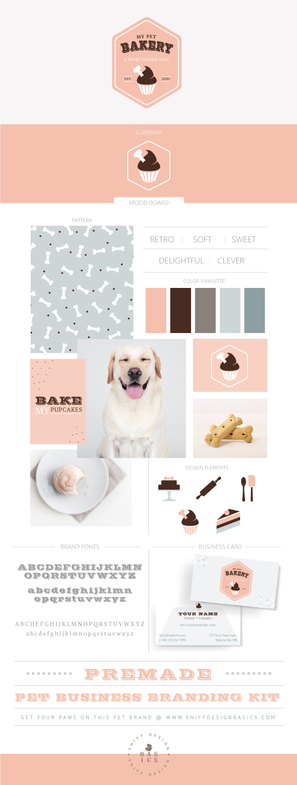 My pet bakery premade pet business branding kit design by Sniff Design Basics