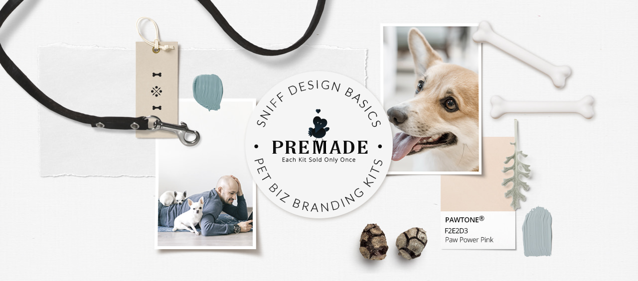 Premade pet business branding kits by Sniff Design Basics of Sniff Design Studio