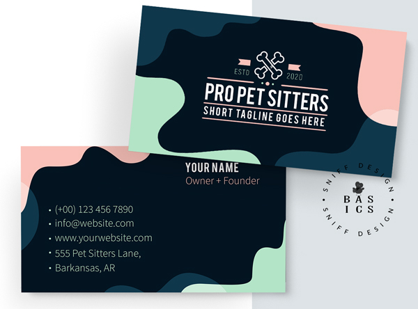 Professional pet sitting premade pet business branding kit card design for sale by Sniff Design Basics