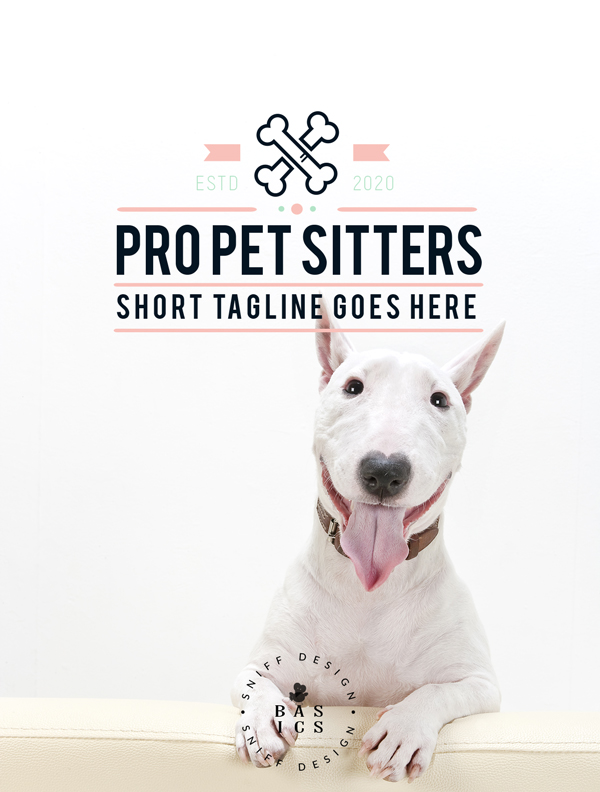 Professional pet sitting premade pet business branding kit for sale via Sniff Design Basics
