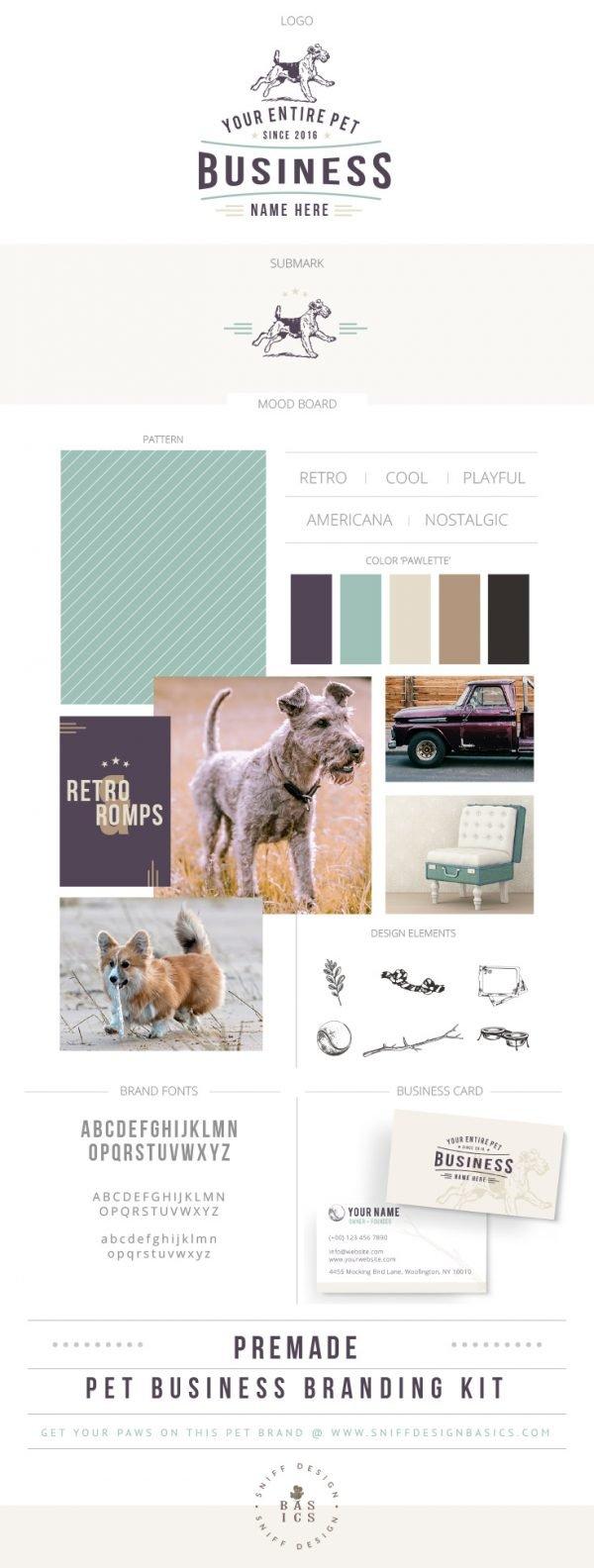 Retro Romping Rover Premade Pet Branding Kit Design by Sniff Design Basics