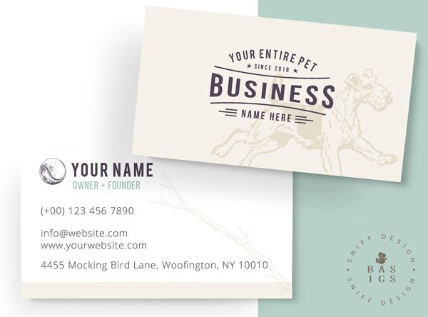 Retro Romping Rover Premade Pet Business Card Design by Sniff Design Basics