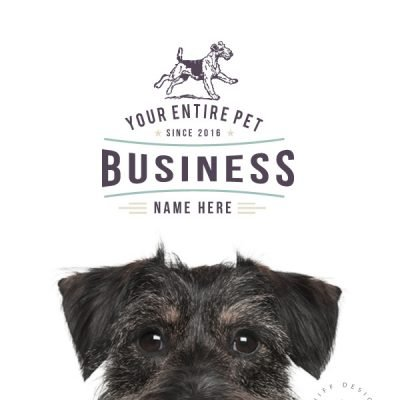 Retro Rover premade pet business logo design and part of a pet business branding kit design