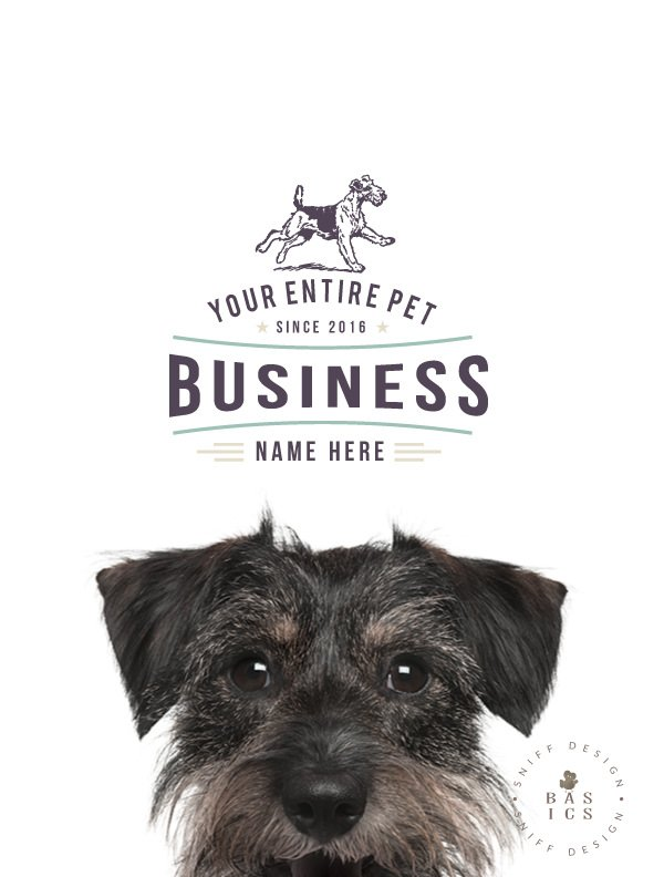 Retro Rover premade pet business logo design and part of a pet business branding kit design